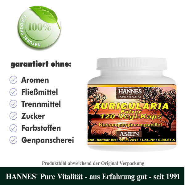 Auricularia Pilz Pulver Vegi-Kaps Dose
